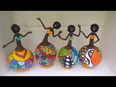 Your place to buy and sell all things handmade - Her Crochet Decorative Gourds, Hand Painted Gourds, Painted Pumpkins, Bottle Art, Bottle Crafts, Diy African Dolls, Paper Dolls, Art Dolls, Jar Art