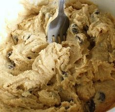 Egg-less cookie dough to eat. Not to bake. Just to eat. Everyone should have this recipe on hand... perfect for girls night in! Eggless Cookie Dough 3/4 cup brown sugar 1/4 cup butter, softened 1/4 tsp. vanilla 1/4 cup milk 1 cup flour Pinch salt 1/2 cup chocolate chips....yummm