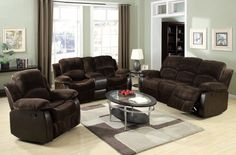 Masaccio Brown PU Wood Padded Arm Living Room Set