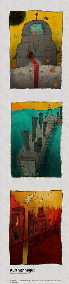 Illustrations. Kurt Vonnegut book series: Sirens from titan, Slaughter no 5, and Piano (basia lukasik)  ...............  www.studiobaklazan.pl  www.barbarja.pl  www.typohole.com