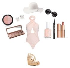 """""""Nude colored beach/pool wear retro"""" by ootdqueen1889 on Polyvore"""