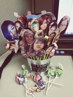 "My own goodbye gift idea :) Blowpop going away present: ""This blows! Take us with you!"" I cut out everyone's face out and put them on sticks along with blowpops."