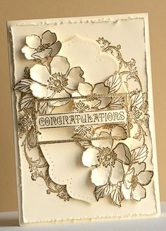 handmade card by Susan Smit ... shabby chic ... vanilla card with gold embossed images ... fussy cut flowers and foliage ... pierced edge label framelit ... roughed up edges ... everything from Stampin' Up!!