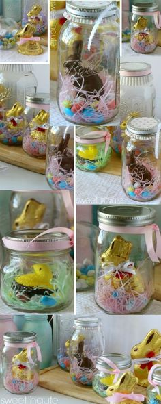 Easter Bunny Mason Jars chocolate bunny peep decor ideas dinner centerpiece party theme decorations- SWEET HAUTE
