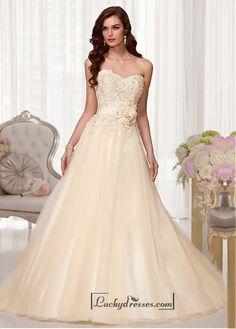 Alluring Tulle & Satin Sweetheart Neckline Natural Waistline A-line Weding Dress