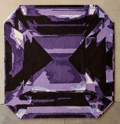 Emerald Cut Diamond purple square rug – Kush Handmade Rugs in Portland, OR