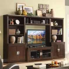 Turnberry 4 Piece Entertainment Wall Unit with 56 in. TV Console - traditional - media storage - - by Hayneedle
