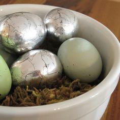 Antiqued Silver Eggs DIY using tin foil