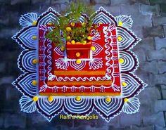 Rangoli Kolam Designs on Happy Shappy in 2019 Rangoli Borders, Rangoli Border Designs, Rangoli Patterns, Rangoli Ideas, Kolam Rangoli, Flower Rangoli, Beautiful Rangoli Designs, Diwali Decorations, Festival Decorations