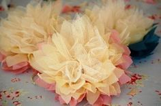 Greedy For Colour: Tissue Paper and Tulle Flower Tutorial. I think I will try fabric instead of the tissue paper, or just more tulle (to use for hair clips) Enchanting flowers made from tissue paper and tulle. I made tissue paper flowers back in the but a Cute Crafts, Crafts To Make, Arts And Crafts, Easy Crafts, Easy Diy, Tulle Flowers, Diy Flowers, Tissue Flowers, Flower Ideas