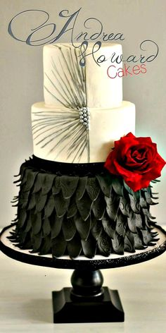 Wedding Cake: red black and white