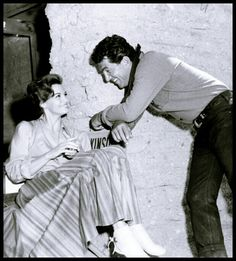 """Angie Dickinson and Dean Martin on the set of """"Rio Bravo"""""""