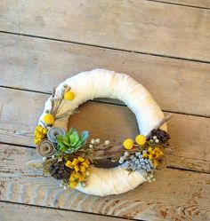 Items similar to Ecru Succulent Wreath with Mustard, Grey and Beige Wool Felt and Dried Berry Accents Size on Etsy Felt Flower Wreaths, Felt Flowers, Succulent Wreath, Grey And Beige, Wool Felt, Interior And Exterior, Mustard, Christmas Wreaths, Succulents