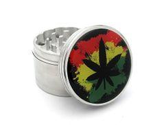 "Four Piece Marijuana Rasta Logo 2"" Herb, Spice or Tobacco Pollen Aluminum Grinder - http://spicegrinder.biz/four-piece-marijuana-rasta-logo-2-herb-spice-or-tobacco-pollen-aluminum-grinder/"