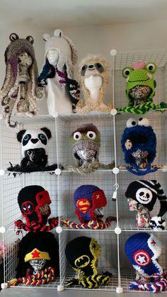 Displayed crochet hats