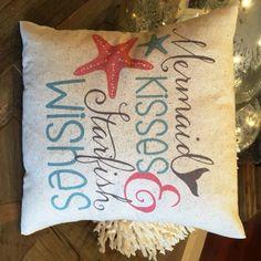Mermaid Pillow, nautical, coastal summer decor, ocean, beach house, mermaid kisses by JoellesCorner on Etsy https://www.etsy.com/listing/258211829/mermaid-pillow-nautical-coastal-summer