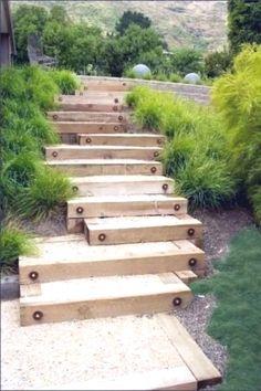Sloped Backyard, Sloped Garden, Backyard Landscaping, Landscaping Design, Backyard Patio, Backyard Ideas, Wood Path, Wood Wood, Painted Wood