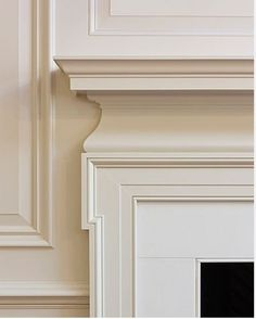 great use of moulding for fireplace mantel;   Meredith Heron Design