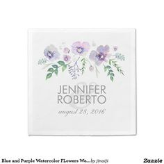 Blue and Purple Watercolor FLowers Wedding