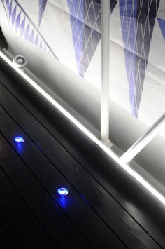 Sensors and lights at floor