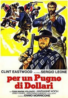 """POR UM PUNHADO DE DÓLARES - 1964 - É o primeiro filme da trilogia que conta ainda com """"Por uns Dólares a Mais"""" e """"Três Homens em Conflito"""".  Mesmo que visivelmente inferior aos outros dois exemplares da trilogia, Por um Punhado de Dólares merece todo respeito do mundo por ter posto no mapa Sergio Leone, Clint Eastwood e Ennio Morricone, relevando ainda que o spaghetti western pedia licença para ser notado."""