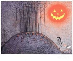 Tim burton art the night before Christmas Halloween y isn't this in my room hanging on my wall