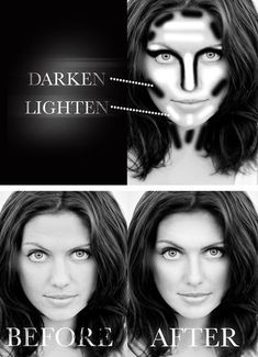Highlighting and contouring in Photoshop: Fill a blank layer with 50% grey and place it on the soft light blend mode. Then paint with either a low opacity (10-15%) white paintbrush to highlight or a low opacity (10-15%) black paintbrush to darken. Dodge And Burn Photoshop, Photoshop Face, Photoshop Editing Tutorials, Photoshop Retouching, Adobe Photoshop Elements, Photoshop Tutorial, Photo Retouching, Photoshop Actions, Photo Editing