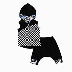 2Pcs Summer Hooded geometric Tops Pants Toddler Baby Kids Boy Girl 2017 new arrival fashion Outfits Set Clothes Age 0-5T #Affiliate