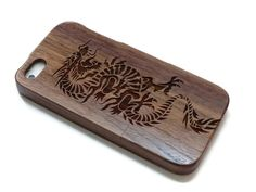 wooden iphone 5 case / iphone 5S case wood - wood iphone 5 case bamboo, cherry and walnut wood - Dragon