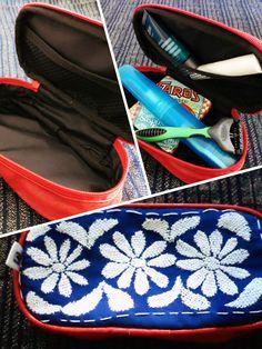 Bolsita de viaje. Bordado artesanal de Jalapa de Díaz Oaxaca #Artesanal #Hechoamano #HechoenMéxico #Handmade #Embroidery #Diseñomexicano de @Lunaje