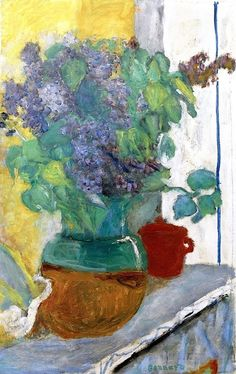 Purple Lilacs in a Green and Yellow Earthenware Vase Pierre Bonnard - 1930