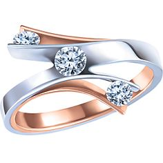 Ben Moss Jewellers 0.35 Carat TW, 10k White and Rose Gold Three Stone Diamond Ring