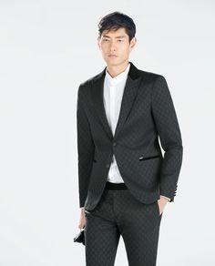 ZARA - 男士 - 黑色提花休閒西裝