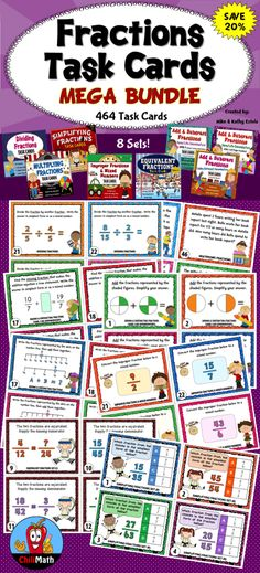 Save 20% on this Fractions Bundle! It contains 8 sets of task cards - a total of 464 task cards, covering various fractions concepts that will not only challenge your students but engage them at the same time!  $