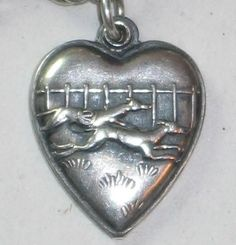 Sterling Silver Puffy Heart Charm - Racing Greyhounds