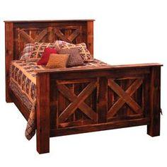 Barndoor Style Barnwood Bed Western Bedroom Furniture :D Lodge Furniture, Western Furniture, Country Furniture, Bedroom Furniture, Furniture Ideas, Furniture Design, Furniture Online, Unique Furniture, Furniture Making