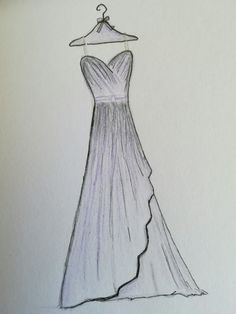 Dress Design Drawing, Dress Design Sketches, Girl Drawing Sketches, Art Drawings Sketches Simple, Dress Drawing, Vintage Fashion Sketches, Fashion Design Sketchbook, Fashion Design Drawings, Dress Illustration