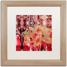 Trademark Fine Art Daisy Abstract Canvas Art by Lisa Powell Braun, White Matte, Birch Frame, Red