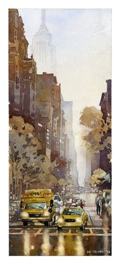 "5th Ave from Washington Square Park by Iain Stewart Watercolor ~ 17"" x 7.5"""