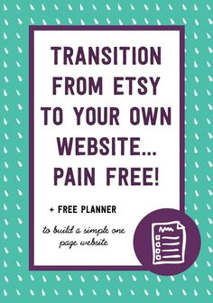 Transition from Etsy to your own Website, Pain free! Etsy Business, Craft Business, Business Tips, Online Business, Business Marketing, Business Branding, Creative Business, Build Your Own Website, Etsy Seo