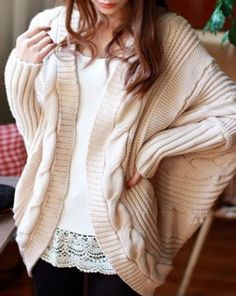 Sweater Love! Cozy Knit Collarless Dolman Sleeve Cable Knit Cardigan For Women #Cozy #Fall #Sweater #Fashion