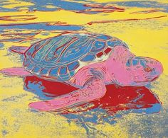 """Endangered Species Series: Sea Turtle, 1985, by Andy Warhol (1928–1987). Synthetic polymer and silkscreen inks on canvas, 42 x 50"""" (106.7 x 127 cm)"""