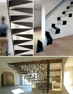 Since stairs are often located in the heart of a home, they provide another opportunity to stun with steel. These three creative sets of metal stairs in unusual designs certainly stand out.