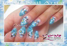 flowers nail art ציפורניים ציורי פרחים