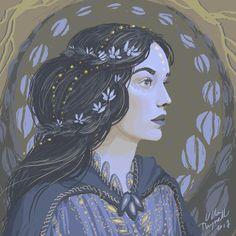 Ulla Thynell illustration: portrait of Lúthien Tinúviel from J.R.R. Tolkien's stories.