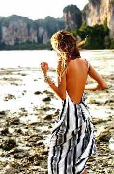 Black & White Backless Maxi Dress