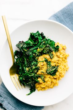 Vegan Parmesan Farro Risotto with Garlicky Greens | Post sponsored by Alessi Foods