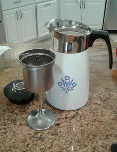 Vintage 9 Cup Corning Ware Blue Cornflower Stove Top Coffee/Tea Pot Complete