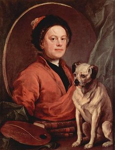 William Hogarth, self-portrait with pug  Pugs are among the oldest breed of dogs. Their root can be traced to 400 BC China, where the dogs were bred to adorn the laps of Chinese sovereigns during the Shang dynasty.