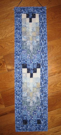 Ice Blue Winter Fabric Art Quilt Wall Hanging by TahoeQuilts, $68.00